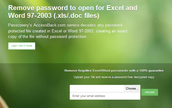 Upload your password-protected Excel/Word 97-2003 file