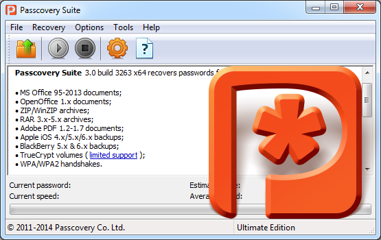 Passcovery Suite cracks lost passwords for Office/RAR/Zip/TrueCrypt/Apple iOS/WPA/WPA2. Powered for NVIDIA/AMD GPUs
