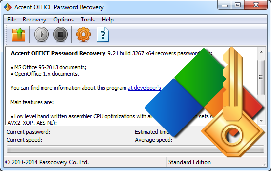 Awesome password recovery speed for any Microsoft Office/OpenOffice file